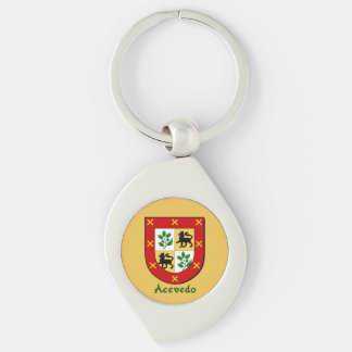 Acevedo Historical Shield Silver-Colored Swirl Metal Keychain