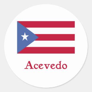 Acevedo Puerto Rican Flag Classic Round Sticker