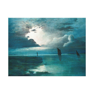 Achenbach Sonnenuntergang am Meer Canvas Print