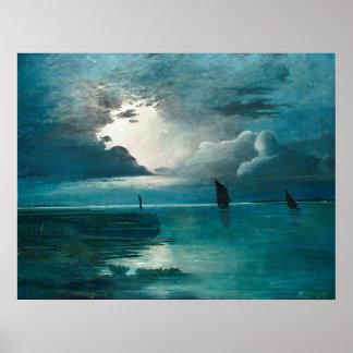 Achenbach Sonnenuntergang am Meer Poster