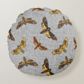 Acherontia Lachesis - Death's-head Hawkmoth Round Pillow