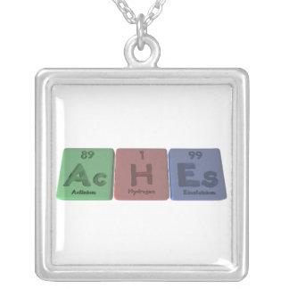 Aches-Ac-H-Es-Actinium-Hydrogen-Einsteinium Square Pendant Necklace