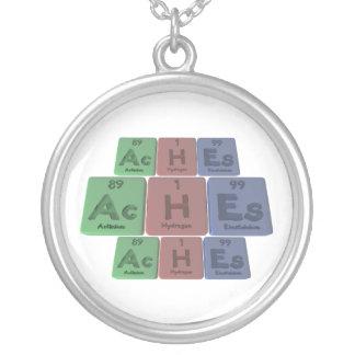 Aches-Ac-H-Es-Actinium-Hydrogen-Einsteinium Round Pendant Necklace