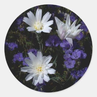 Achicoria y Wildflowers de Phacelia Pegatina Redonda