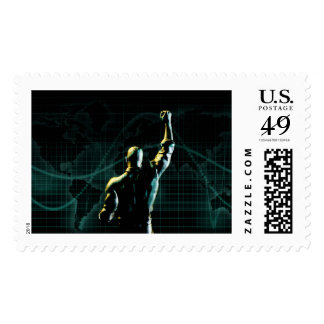 Achieve Success as a Symbolic Concept Background Postage