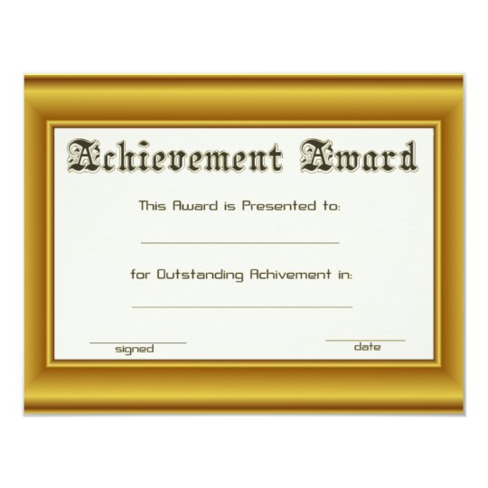 Achievement Award  With Gold Edges Card