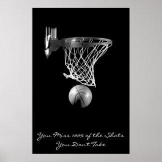 Achievement Motivational Basketball Black & White Poster