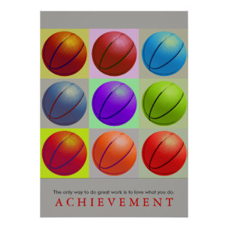 Achievement Motivational Basketball Pop Art Poster