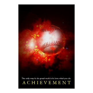 Achievement Motivational Flaming Baseball Poster