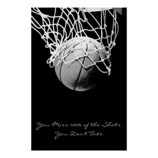 Achievement Motivational Quote Basketball Poster