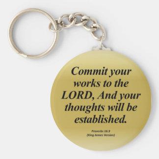 Achievement Proverbs 16:3 Abbrev Basic Round Button Keychain