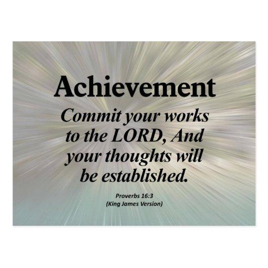 Achievement Proverbs 16:3 Postcard