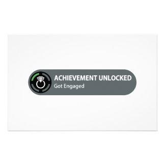 Achievement Unlocked - Got Engaged Stationery Paper