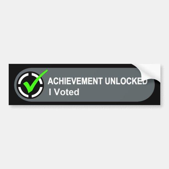 Achievement Unlocked I Voted Bumper Sticker