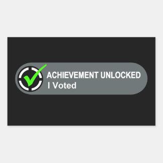 Achievement Unlocked I Voted Rectangular Sticker