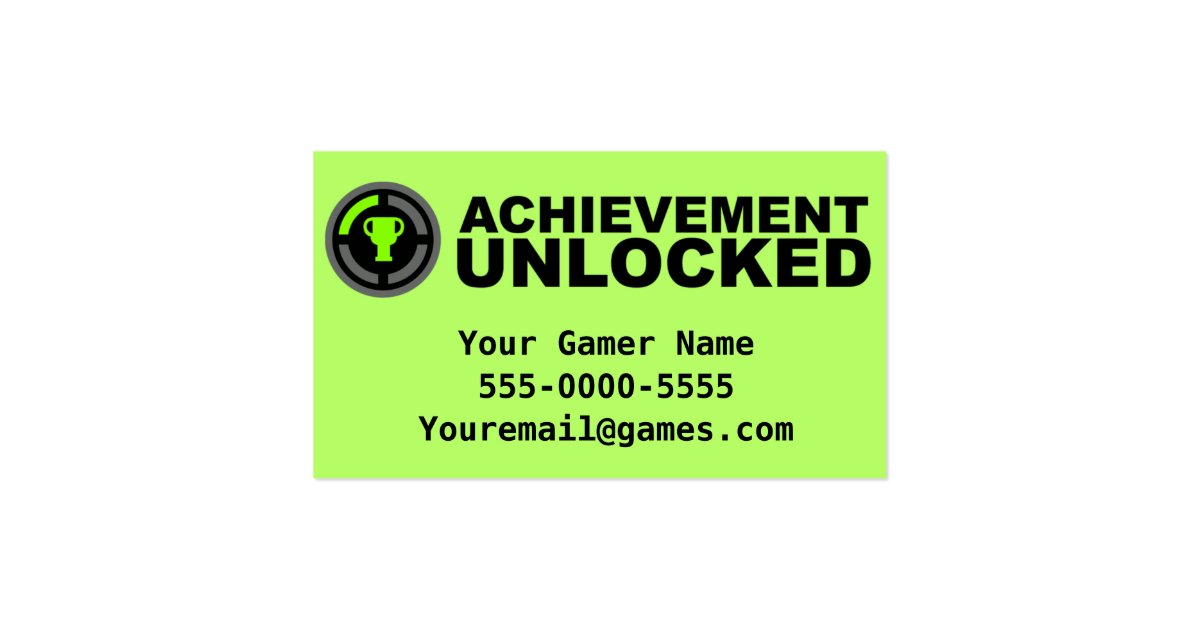 Achievement unlocked video game business cards zazzle for Video game business cards