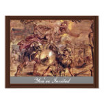 """Achilles Defeated Hector.,  By Peter Paul Rubens 4.25"""" X 5.5"""" Invitation Card"""