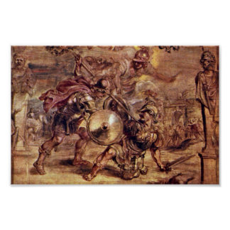 Achilles Defeated Hector.,  By Peter Paul Rubens Poster