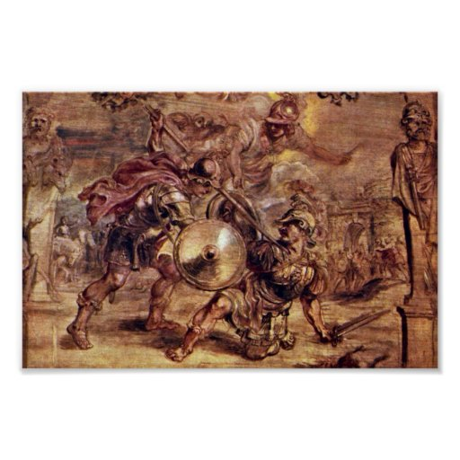 Achilles Defeated Hector.,  By Peter Paul Rubens Posters