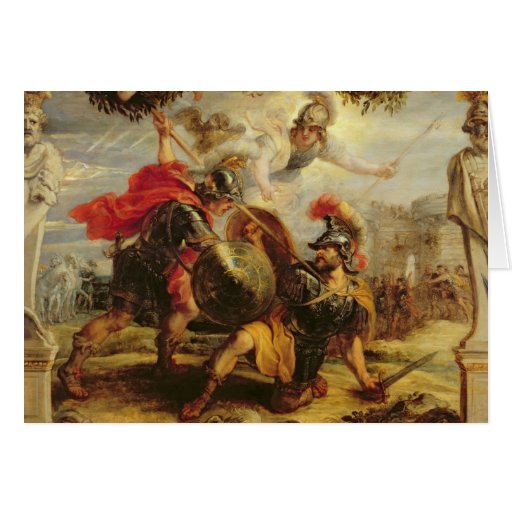 Achilles Defeating Hector, 1630-32 Card