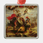 Achilles Defeating Hector, 1630-32 Square Metal Christmas Ornament