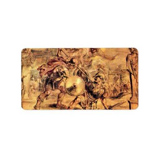 Achilles defeats Hector by Paul Rubens Custom Address Labels