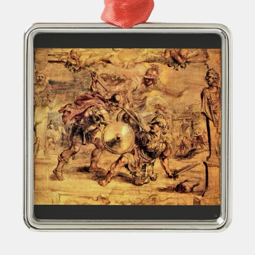 Achilles defeats Hector by Paul Rubens Square Metal Christmas Ornament