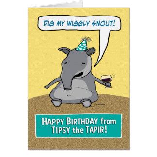 Achispado divertido el cumpleaños del Tapir Tarjeta De Felicitación