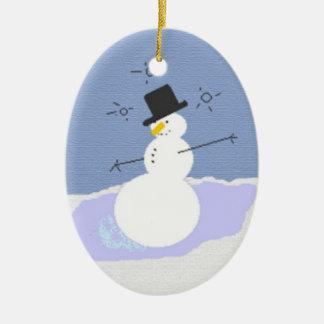 Achispado el muñeco de nieve adorno ovalado de cerámica