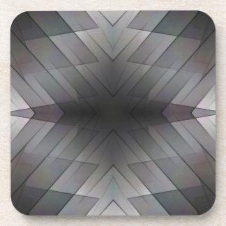 Achromatic geometric symmetric square tile coaster