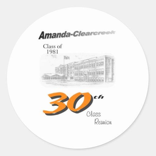 ACHS 30th reunion 8.5x11 tall logo Classic Round Sticker