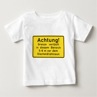 Achtung Grenze verläuft, Berlin Wall, Germany Sign Baby T-Shirt