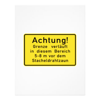 Achtung Grenze verläuft, Berlin Wall, Germany Sign Letterhead