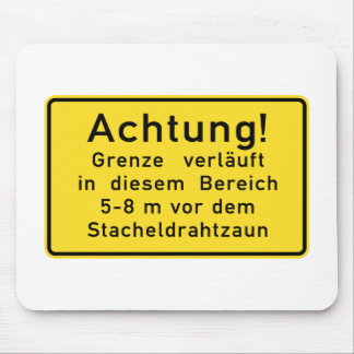 Achtung Grenze verläuft, Berlin Wall, Germany Sign Mouse Pad