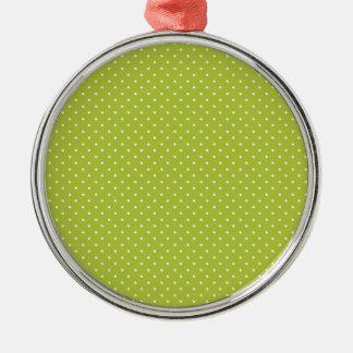 Acid-And-White-Polka-Dots Metal Ornament
