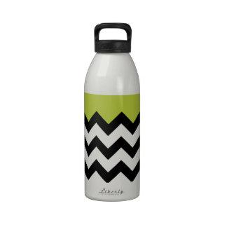 Acid Apple Green And Black & White Zigzag Chevron Drinking Bottle
