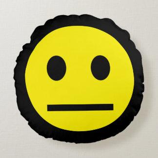 Acid Generation Smiley Yellow Blue Round Pillow