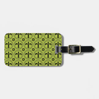 Acid Green And Black Fleur De Lis Pattern Tags For Bags