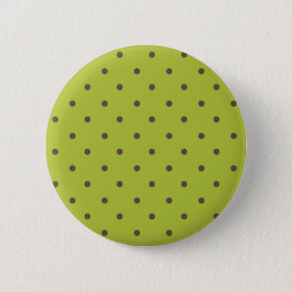 Acid Green And Brown Polka Dots Pattern Pinback Button