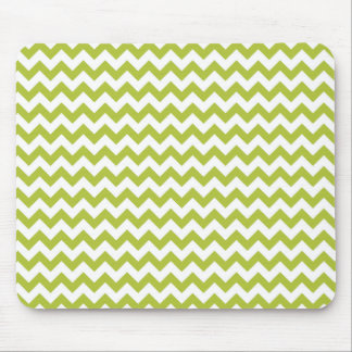 Acid-Green-And-White Chevron Mouse Pad