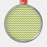 Acid-Green-And-White Chevron Christmas Tree Ornament