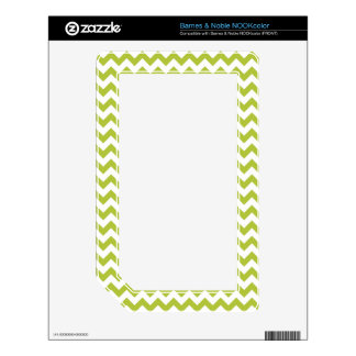 Acid-Green-And-White Chevron Skin For The NOOK Color