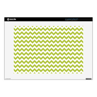 """Acid-Green-And-White Chevron Decal For 15"""" Laptop"""