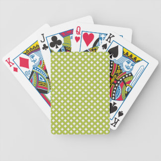 Acid Green And White Mesh Pattern Poker Cards