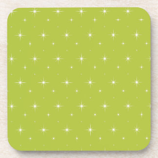 Acid-Green-Apple-And-Bright-Stars-Elegant-Pattern Beverage Coaster