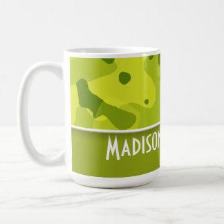 Acid Green Camo; Camouflage; Personalized Coffee Mug