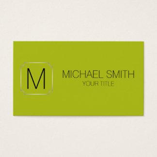 Acid green color background business card