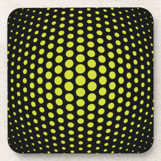 Acid Green Fish Eye Polka Dots Pattern Coaster
