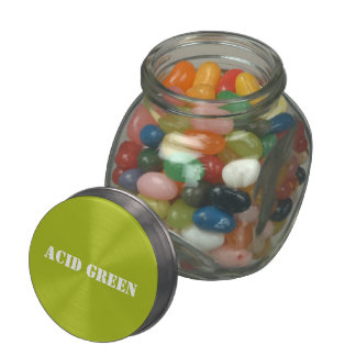 Acid green glass candy jar