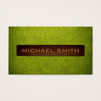 Acid green Leather Look Professional Business Card